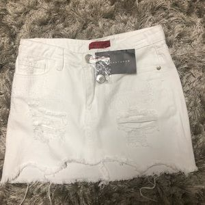 NWT white denim mini jean skirt